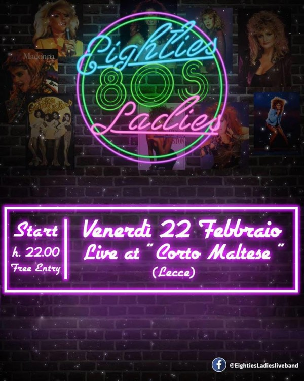 ven 22 febbario – 80s Ladies Live Band